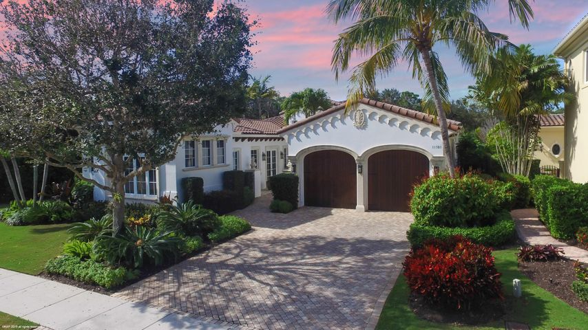 Beautifully appointed Serena floor plan with stunning golf course view.  This impeccable home features an open floor plan, light and bright kitchen with top of the line appliances, gas cooktop, large island and breakfast area.  The spacious master bedroom boast a morning bar, sitting area, his & her walk in closets with built-ins, a lavish bathroom equipped with a whirlpool tub, large shower and his & her vanities. The VIP guest suite includes a large morning bar with mini fridge, walk in closet & private bathroom.  The backyard is the perfect place to relax and unwind, featuring a custom heated pool and spa, outdoor summer kitchen with built in bbq, fire pit area, lush tropical landscape and beautiful sunset views.