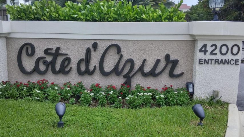 Truly paradise living at Singer Island's popular Cote d'Azur in this EXPANSIVE, CORNER, TWO BEDROOM, TWO BATHS, LARGE TERRACE unit with relaxing water views and ocean breezes. This immaculate and renovated unit has been used only seasonally and is offered turn-key with all its new furnishings. Enjoy breakfast on balcony off kitchen or ocean view while relaxing on the other balcony. This unit also features a desired covered parking spot, eat-in kitchen, laundry room with new washer and dryer and complete hurricane shutters. Cote d'Azur amenities include, private beach access, heated pool, large pool deck, tennis and pickleball courts, community room, exercise room. sauna, storage locker, security gate, on site manager. Recent concrete restoration and other improvements have recently been recently completed and all assessments have been paid.  Lounge chair and umbrella service is available for your convenience and relaxing pleasured. Conveniently located to Palm Beach Island, Gardens Mall, Palm Beach Airport, marinas, parks, golf courses, cultural centers, shopping and fine dining. All measurements are approximate, information is deemed reliable but not guaranteed and should be verified.