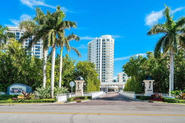 Arrive  thru a  private lagoon and security gate at Beach Front condominium located ''on the sand ''at Singer Island. Enjoy a private beach in addition to a  bike and jogging path at the building. Helicopter views of the ocean to the east and intracoastal to the north and west from your two large private balconies. This high floor furnished home has two bedrooms, with fully fitted closet, three full baths, a separate laundry room and family room, easily converted it back to a third bedroom. The private elevator lobby has double oak doors which open to endless direct ocean views. Among many amenities are fully equipped fitness center, movie theater, serenity garden with  bbq grill. Make this 2439 square-foot condo your full-time home or vacation sanctuary. Arrive at the long driveway through a private lagoon approaching the security gate at Beach Front condominium located on the ocean at Singer Island. Enjoy a private beach in addition to the bike and jogging paths at the building. Helicopter views of the ocean to the east and intracoastal to the north and west are available from your large private balconies. This high floor furnished home has two bedrooms with fully fitted closet, three full baths, a separate laundry room and family room, easily converted it back to a third bedroom. The private elevator lobby has double oak doors which open to endless direct ocean views. Amenities include two parking spots, fully equipped fitness center and recently restored exterior. Make this 2439 square-foot condo your full-time home or vacation sanctuary