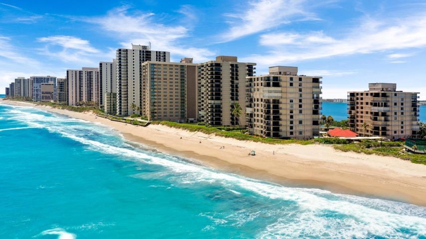 Come discover the Dunes Towers ! Boutique style buildings with only four units per floor at the northern end of Singer Island.  This condo is SE exposure with beautiful views from every window. Location, Location ,Location! Ocean, Intracostal, and city lights with no building next door to block the view! Gorgeous sunrises and sunsets await you!  Large wrap around balcony extends your entertaining and living space.  Wonderful split floor plan with generous size living, closet, and bedroom space. Dunes Towers has a pristine private beach, beautiful pool area, clubhouse, gym, saunas ,two BBQs, and Castle Management on site. Come live the Florida lifestyle in this friendly community!
