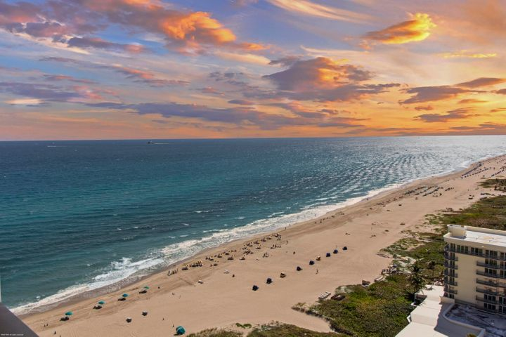 21st floor Penthouse with 10 foot ceilings , a sunny southern exposure in a family-friendly luxury oceanfront resort. Wonderful views of the ocean and Intracoastal waterway. Beautiful marble floors and top of the line Viking kitchen appliances including wine cooler, gas cook-top, double wall ovens with warming drawer. Master bedroom suite with large bath, walk-in closet & private terrace. 2nd bedroom has 2 double beds & 3rd bedroom has 1 queen bed. The Resort at Singer Island joined The Marriott Resort as a diverse smoke-free resort. Featuring 239 all-suite resort units and 66 residential condominiums, the resort includes 4,000 square feet of meeting space, an 8,500-square foot spa, and all of the amenities & services one would expect from a world-class facility. Full-time concierge will enrich guest experiences and activities including coordination of private events, theater tickets, dinner reservations, and travel arrangements. Experience the essence of elegance in one or two bedroom resort units ranging from 800 square feet to just over 2,100 square feet of living space. Decorated with dark wood tones, stainless steel kitchen appliances, and marble baths, the resort offers a luxurious contemporary modern edge. Enjoy majestic views of the Atlantic Ocean or Intracoastal Waterways from the expansive terraces in each suite. Dining options include an alfresco ambiance at the ocean side eatery, the convenience of room service, or special events catered within the stunning entertainment veranda. Even a temperature-controlled wine room is available to store private wine collections. The white sands of Singer Island provide the ultimate place to relax. Attentive pool and beachside attendants provide everything from plush beach towels and relaxing lounge chairs to tempting frozen libations. Outdoor private cabanas are the ideal place to enjoy a casual poolside lunch.