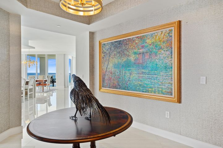 Direct oceanfront residence at VistaBlue, Singer Island's most desirable building!  This 3 bedroom plus den, 3.5 bath, 7th floor residence is not to be missed.  The nearly 3300 of interior living space has 10 foot ceilings, porcelain tile flooring.  The Kitchen has all high end Miele appliances and gorgeous Poggenpohl custom cabinetry, quartz countertops and temperature controlled wine cooler and Subzero ice-maker. Numerous amenities include cabanas, oceanfront pool/spa, wine bar, state-of-the-art fitness center and men's and women's locker room with sauna, and private air conditioned storage.  Grab your coffee or cocktail to enjoy the most spectacular view of the crystal clear Atlantic from your large balcony.  This property is not to be missed.  2 pets welcome!
