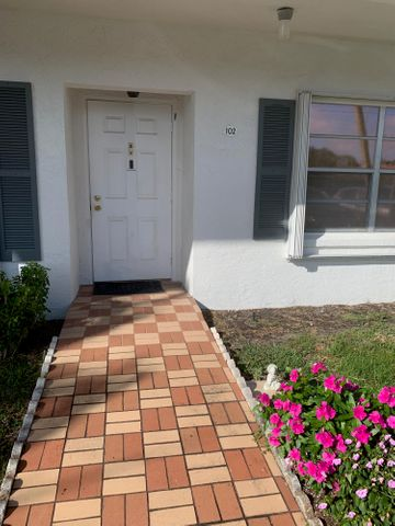 First floor, spacious 2/2 condo with 2 fully updated bathrooms with step-in showers (tubs removed). Large windows with shutter/hurricane protection. The monthly HOA fee includes water, cable, roof care, painting of exterior of buildings, lawn care and maintenance of club house/pool and tennis courts. . The Association just upgraded the Cable service to include Broad Band and Internet. This is a 55+ Verified Community, no pets, no RVs or Motorcycles. Nice location in Delray, spacious property, lots of amenities at club house - Men and Women's Club, Pool tables, card tables, shuffle board, pool, jacuzzi, tennis.
