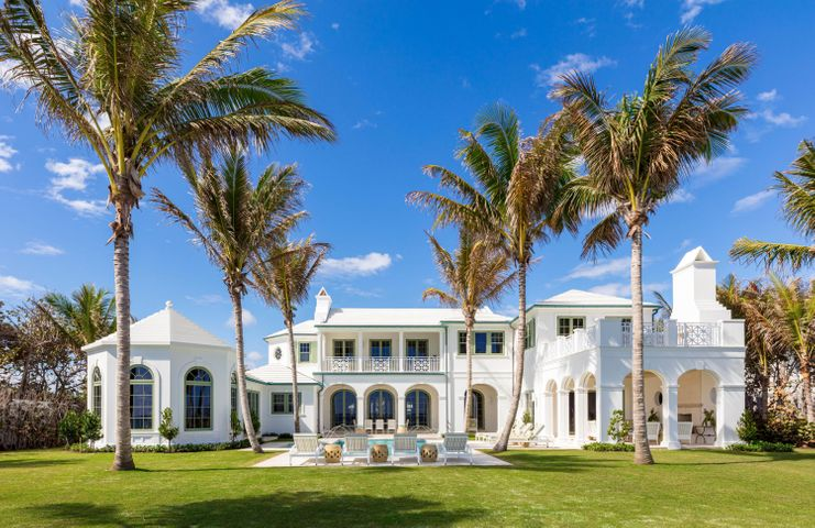 Presenting the only new custom home available on Palm Beach Island with one of the highest elevations, 175' of direct ocean front and on 1.14 acres. This Modern, Classic Bermuda inspired estate boasts over 18,000 SF. The spacious 7 bedroom home has views of the ocean from almost every room and includes gourmet dual kitchens, expansive living, dining, and entertaining areas, a private direct oceanfront office, and expansive loggias with endless ocean views. The basement includes a 4,000 bottle custom wine cellar, theater room with a bar, and professional grade fitness center. The   2 bedroom, 2 bath guest house has a gracious great room and terrace with garden views and gourmet kitchen. The grounds will include a private entry gate on North Ocean Boulevard that will open to a lushly landscaped and well-manicured compound with a stately pool and spa along the Atlantic Ocean. This one-of-a-kind estate is available as of February 2021. The home is being offered fully furnished and turnkey.