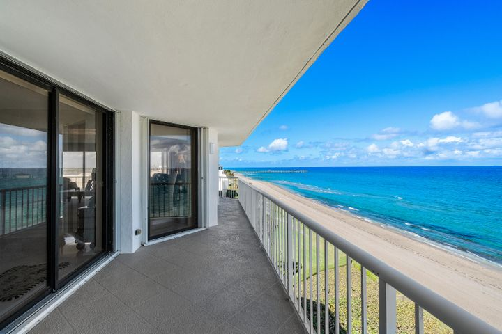 Spectacular Direct Ocean views as soon as you enter this spacious 3 bedroom, 3 bathroom apartment in the sought after Enclave Condominium. Floor to ceiling sliding doors lead to a large wraparound terrace with wonderful Ocean and Intracoastal views. Beautifully renovated with a gourmet kitchen, custom cabinetry, and luxurious baths. The apartment has abundant closets, a gracious entry foyer, and white marble floors. 2 garage spaces and pet friendly. Enclave amenities includes 24 hour manned gate and doorperson, stunning new pool area designed by Mario Nievera, a wide beach, just completed state of the art fitness center, tennis courts, and stylish common areas. A 2 bedroom guest suite is available for guests. Short drive to Palm Beach Par 3 Golf Course, Palm Beach Tennis Center, Five Star Hotels, fine dining, Worth Avenue, and cultural centers.