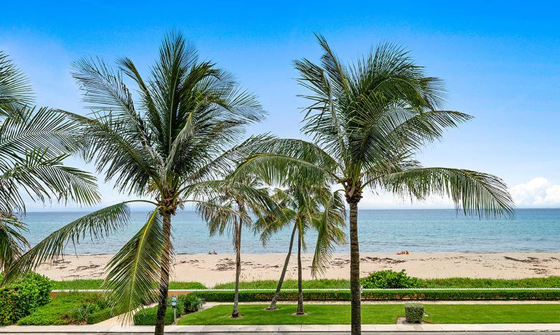 The Heart of Palm Beach Overlooking the Ocean. Boutique Building with only 39 owners. Beautiful Water Views from Owner's Suite, Guest Suite, Living Room, and Dining Area. The  Ocean facing  balconies may be accessed  from all the  main rooms in the unit. Manager on Site, Garage parking, and Door person.