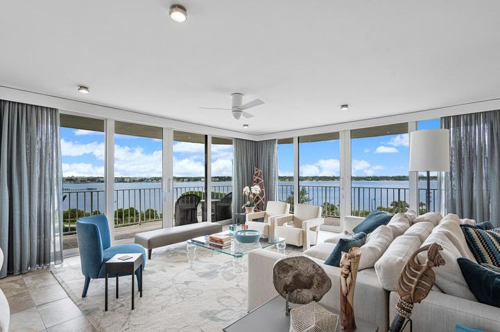 Spectacular Direct Intracoastal Penthouse. This outstanding renovation and magnificently decorated 3 Bedroom & 2.5 Bath unit offers incredible unobstructed water views and oversized wrap around balcony. Enjoy casual elegance with every upgrade and convenience imaginable including, impact doors & shutters, motorized shades & steam shower! Relax with a glass of wine on the balcony watching the evening sunsets with panoramic views. Open floor plan offers easy living with a convertible 3rd BR/Den.The Atrium is located on the Ocean with a beautiful beach & pool area. There are Doormen - Fitness Center - 2 Tennis Courts & Garage ParkingThere will be a $11,200 Special Assessment for Concrete Restoration for 7HII. It is payable in two $5,600 payments due in May 2021 and May 2022. SEE SUPPLEMEN EXCLUSIONS TO THE SALE ARE: THE WALL UNIT IN MASTER BEDROOM AND DINING ROOM CHANDELIER  Atriums building improvements are planned.  This is the case with many condos on South Ocean Blvd who enjoy the views and beach with salt water of the Atlantic Ocean and beauty of the Intracoastal & Lake Worth.  Work will include the painting of exterior patio railings, replacing the roofs and a new pool deck.  Already scheduled and continuing for completion in 2021, is specific cement repair work for patios, mostly impacting patios facing the Ocean.  All work will be completed within the next five years.  Seeing a wonderful new pool deck with covered shade areas, will improve the enjoyment and value of all condos.  Certainly it is preferable to buy in a well-maintained building.  And the costs will be spread out over approximately five plus years with an option to prepay
