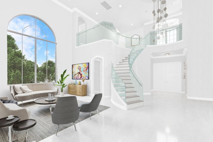 Chic light filled open two-story floor plan located in desirable Frenchman's Reserve Country Club in Palm Beach Gardens Florida. Clean lines, casual and stylish inviting spaces blend seamlessly offering areas for intimate or larger-scale gatherings. Private views overlooking the 5th hole of the Arnold Palmer Golf course. Newly updated, light and bright with porcelain floors, quartz counter tops through-out, luxury flooring in the bedrooms, new appliances, LED recessed lighting, freshly painted and many more updates in this exceptional home. The outdoor areas offer a secluded oasis surrounded by lush landscaping, inviting pool and spa, covered patio spaces, built in summer kitchen perfect for relaxing or entertaining. Virtual renderings.  Golf Equity Membership required. Enjoy the lifestyle at Frenchman's Reserve's newly renovated facilities, spectacular golf course, state of the art practice range and facilities, tennis courts, spa, aquatics center, fitness center, walking and biking, beautiful clubhouse, with a variety of dining options, year-round social events and much more. The floor plan of this home is attached.