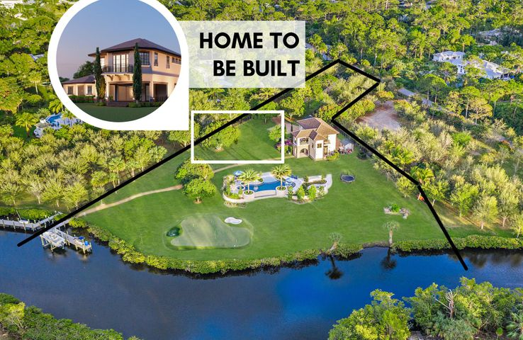 OPPORTUNITY AWAITS! If you have been searching for the PERFECT waterfront lot to build the home of your dreams, look no further! $3M AS-IS with approved building plans for main house or $5M total cost including building the main house. Available just in time for the 2021 summer season is this spectacular 2.43 acre cleared lot boasting 270 degrees of mesmerizing water views, a HUGE luxurious pool and spa, private dock + boat lift, and the most charming Tuscany-inspired guest house, PLUS it has already approved plans to build an incredible 6,000 square foot main house. Boasting 2,400 square feet of living space, 3 bedrooms, 2 full bathrooms, impact windows & doors, and stunning views of the pool and water, this gorgeous two-story CBS guest house is the perfect place to live while building your dream home. On the first level, you'll find two of three spacious bedrooms and a full bathroom, full size washer/dryer and a large, light + bright family room and wet bar for entertaining. The second level features stunning wood-look tile flooring and a gorgeous kitchen with solid wood espresso custom cabinetry, tile backsplash, stainless steel GE Cafe appliances, gas stove, and beautiful white Calcite stone countertops. With a built-in dining area, a huge family room & TWO balconies, there is plenty of space to entertain. Step outside on your main large balcony to find the perfect place to enjoy a cup of coffee or sip a glass of wine while catching a glimpse of a gorgeous South Florida sunrise or sunset over the serene waterfront setting. The expansive master bedroom boasts his and hers closets, a balcony, and an en suite with double vanities, a huge frameless shower with built-in steam room and impressive floor-to-ceiling tile. Guest house is equipped with upgraded electrical including a smart, Control 4 panel & surround sound system.  -- Approved building plans for the Main House include a massive 6,000 square foot layout featuring 5 bedrooms plus a bonus room, huge loft, and
