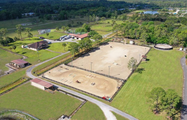 Aerial of 1815 E Rd. Residence and 200' x 300' Riding Arena
