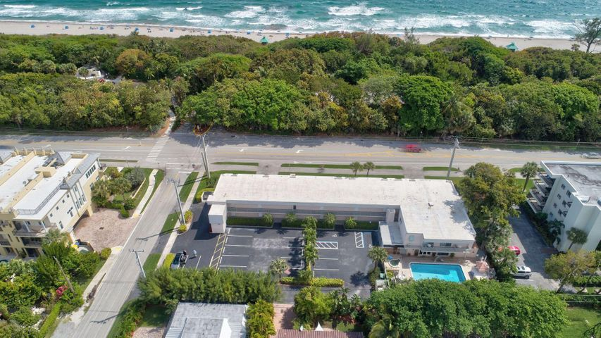 rare opportunity to own stand alone building and 0.62 acre of land on A1A / Ocean blvd in Boca Raton about 1 mile from downtown and right across the street from Beach Park and Ocean and near executive public golf course. Building offers 19 units 1 bedroom and 1 bathroom each plus one office. Each unit has its own A/C system (replaced in 2014), tankless water heater and own internet/cable access. Flat roof was redone in 2015, hurricane windows through out the building about 10 years old, laundry on site, 27 parking spaces, heated pool and spa, barbecue areas