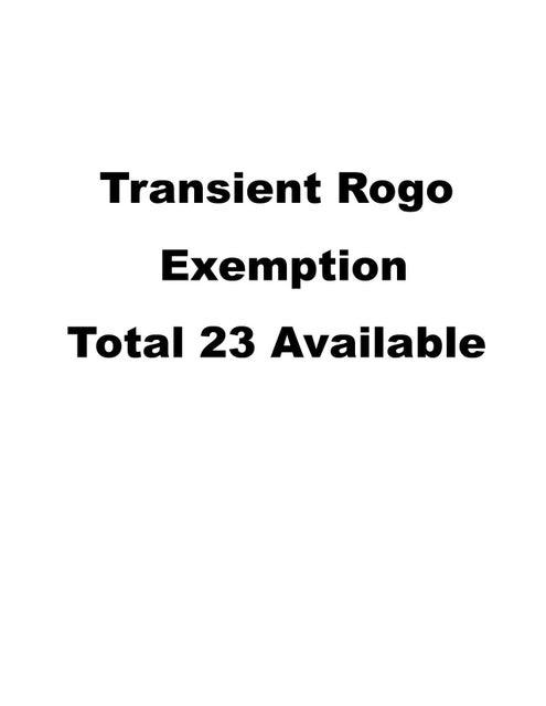 1 Transient ROGO exemption, OTHER, FL 00000