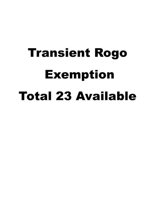 23 Transient ROGO excemptions, OTHER, FL 00000