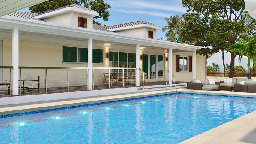 This home has one of the largest heated private pools in Key West.