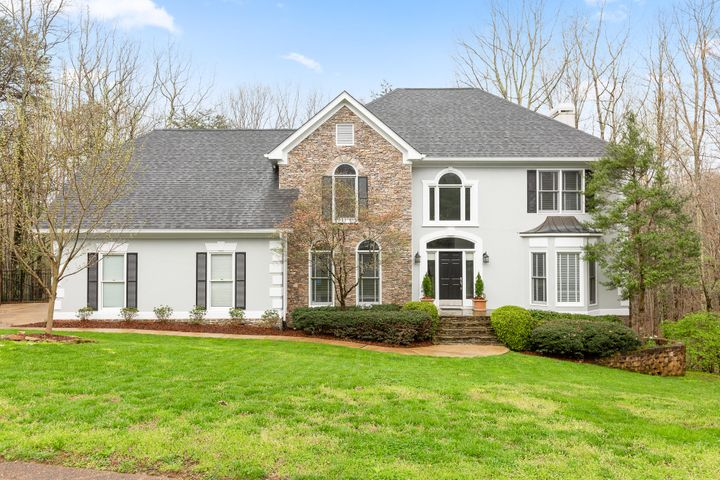Welcome home to 2901 Blue Teal Lane located in the Signal Mtn. community of Fox Run.This home sits on a 1.3 acre private cul de sac lot.This stately home offers a large bright foyer with ascending staircase to the master suite and three additional oversized bedrooms. The main level is large and open with a dining room fit for entertaining, den with built in cabinets and large windows to enjoy the private backyard. The finished basement provides ample space for a teen or mother-in-law suite, including bedroom, full bath, large den and access to the backyard. You can enjoy the hot tub, or relax around the fire pit, all while listening to the calming sound of a gentle stream located at the back of the lot.Minutes to shopping, local eateries and award winning Signal Mtn Schools.