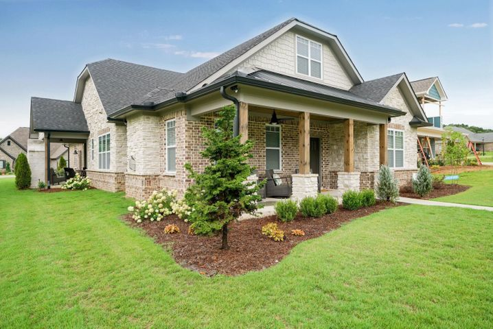 Downsize - Not Downgrade! Exquisite one level home located in one of Ooltewah's newest and premier communities called Skyfall. This home was built in 2018 and features all the upgrades you would want and is a certified EPB energy sufficient smart build. From the moment you walk in the door you see and feel the care that was taken to custom build this home down to each feature and detail selection of the finishes. The living room has a tongue and groove pine ceiling and gas log fireplace. From the living room you go in to the dining room area and opens to the beautiful kitchen. Kitchen has a Whirlpool stainless steel appliance package, abundance of custom cabinetry and granite counter tops and pantry. Throughout the whole home there is an upgraded Delta plumbing/faucet package. There is a half bathroom located off from the kitchen.  Working from HOME?? This home has a great office room! Amazing laundry room with so much storage space and sink. Good sized master bedroom has trey ceiling with tongue and groove pine and fan. Master bedroom is gorgeous with free standing soaking tub, double vanity with custom cabinetry, granite counter tops, standing shower and huge walk in closet. Also off from the living room are 2 additional bedroom and full bathroom. The entry way leading to the additional area has over-sized door opening with decorative and functional barn doors that look amazing. This could give handicap access or could just add more privacy to your guest or children area(s). Spray foam insulation and the attic is encapsulated in insulated space and has a Jacob's ladder and 4x4 entry space. The exterior of home features a partial stone and brick with larger front and side porches for true outdoor entertaining spaces. HOA is $325/month and includes all lawn care, future swimming pool, clubhouse, pavilion and several more common areas. Washer and Dryer will remain. Seller is providing the $4,000 HOA initiation fee for buyer/new homeowner. EPB, Gas and Water average around $150/month. Just minutes from the dining and shopping of Cambridge Square.