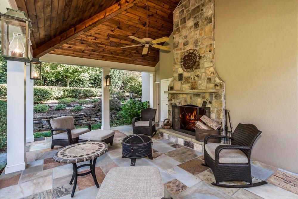 outdoor fireplace with fire