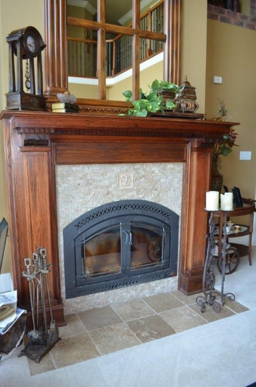 Main level fireplace with vintage mantel
