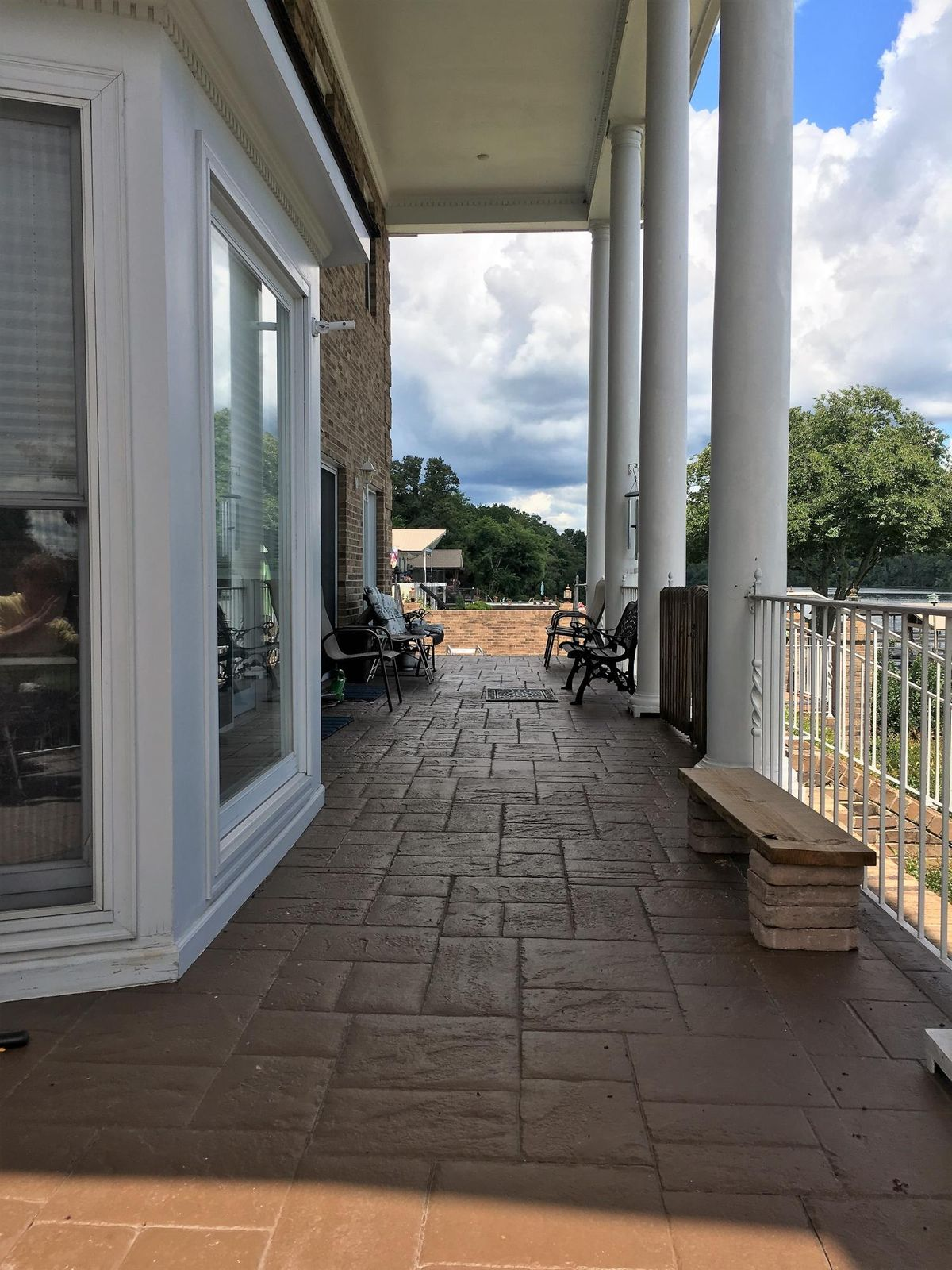 Porch Overlooks Pool Deck and Lake