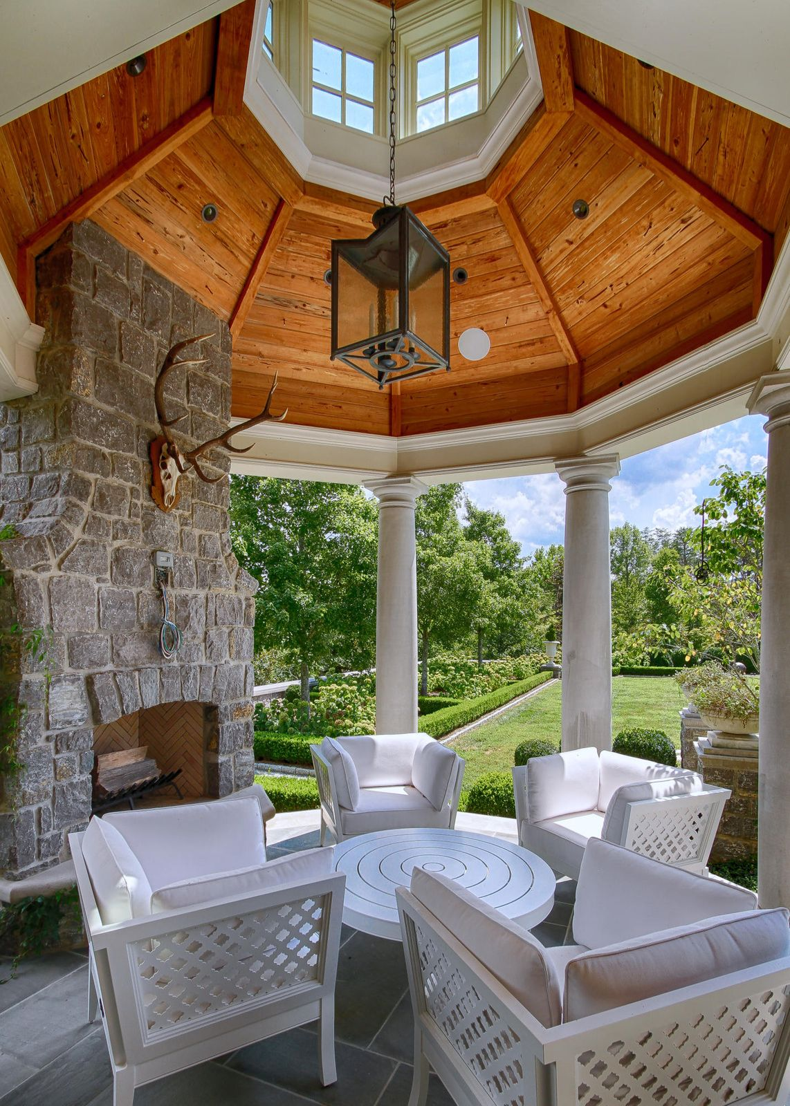 Back patio fireplace