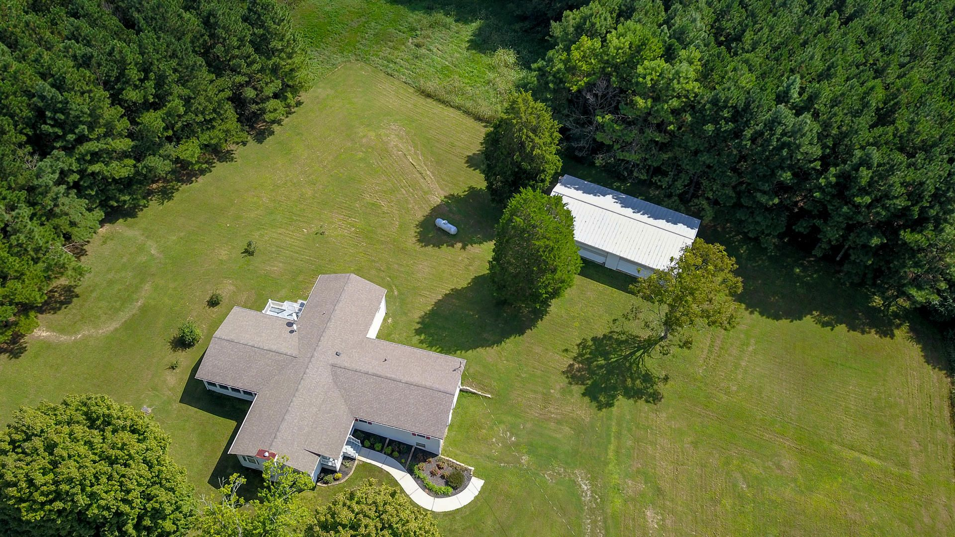 Home and detached garage from the sky