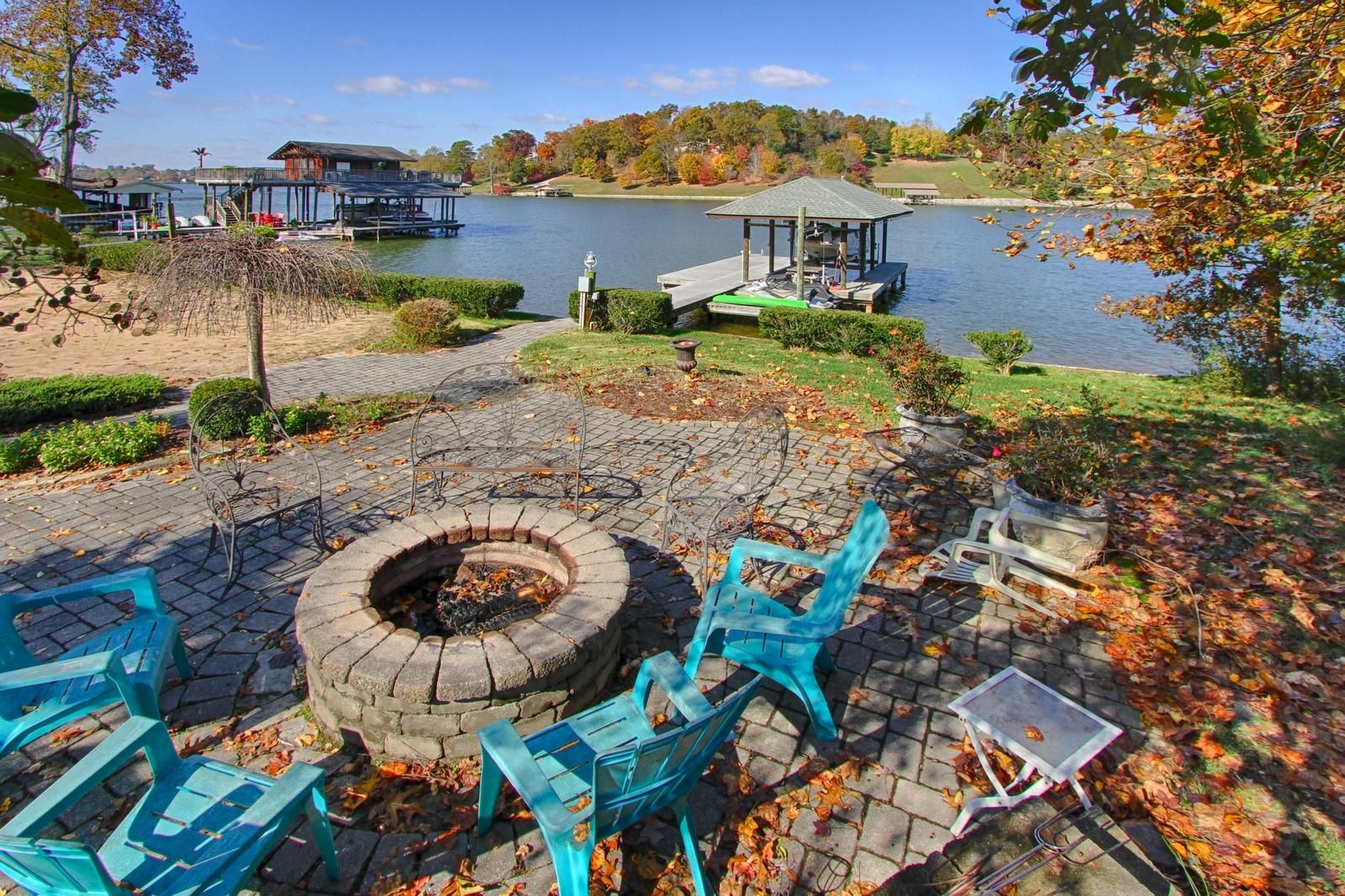 Paver firepit by the lake