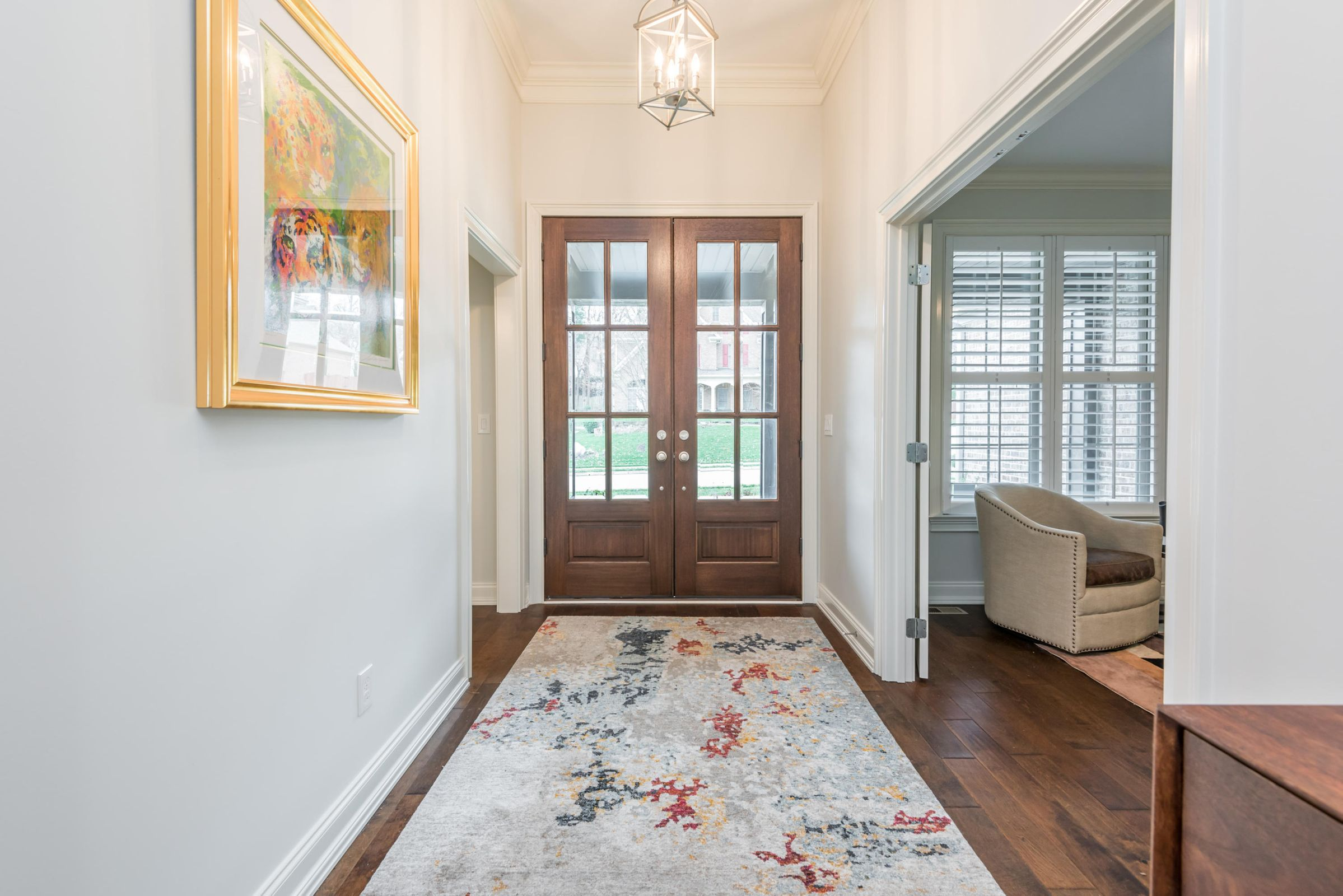 Foyer with 11 Foot Ceilings