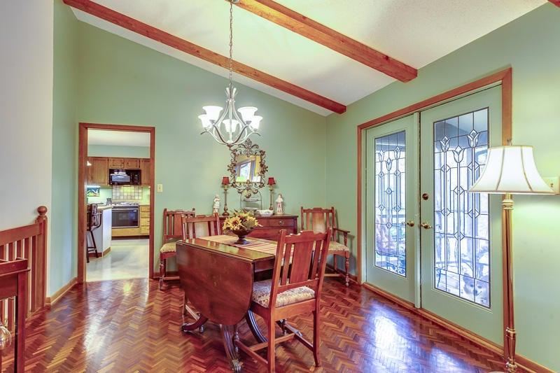 dining room w/teak flooring