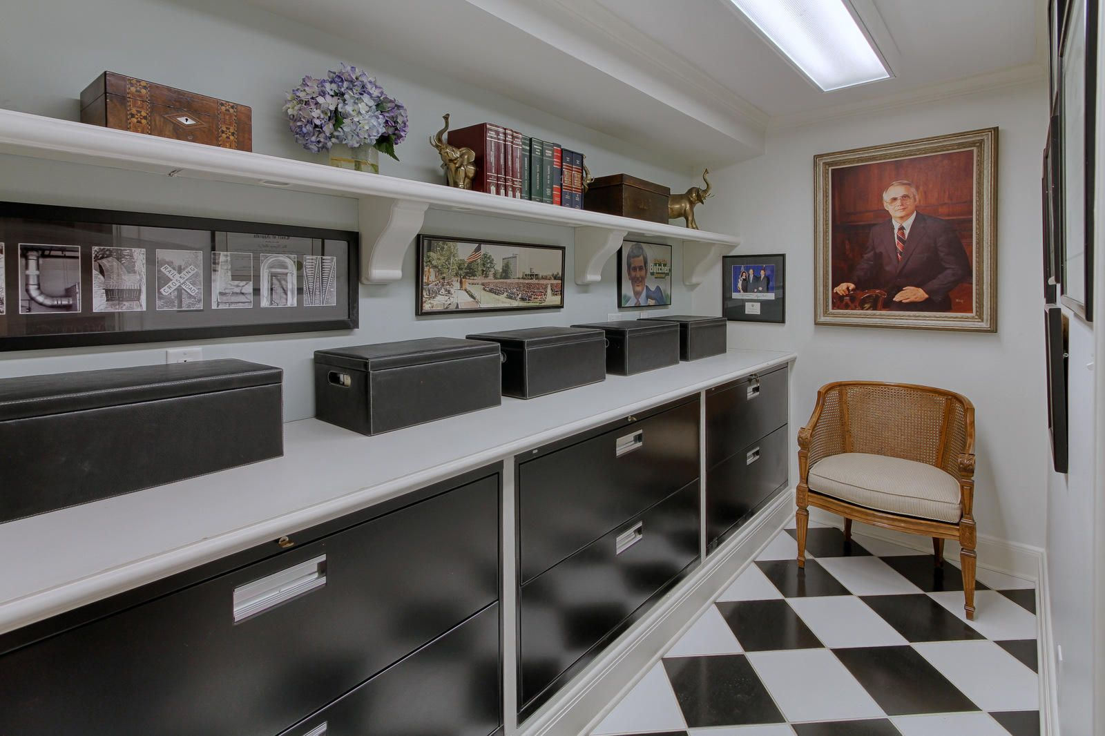 built in filing cabinet room