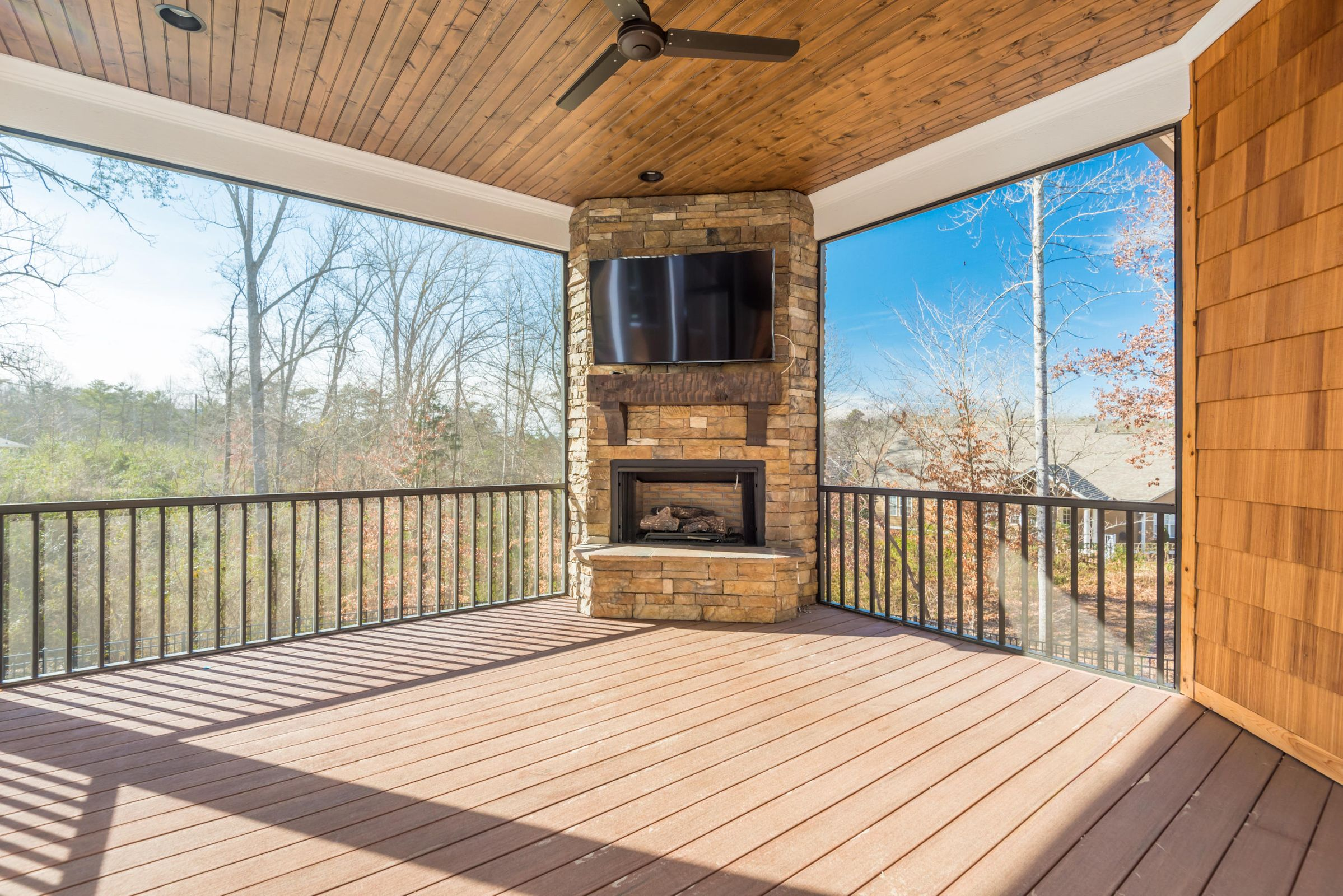 Screened Back Porch with Fireplace