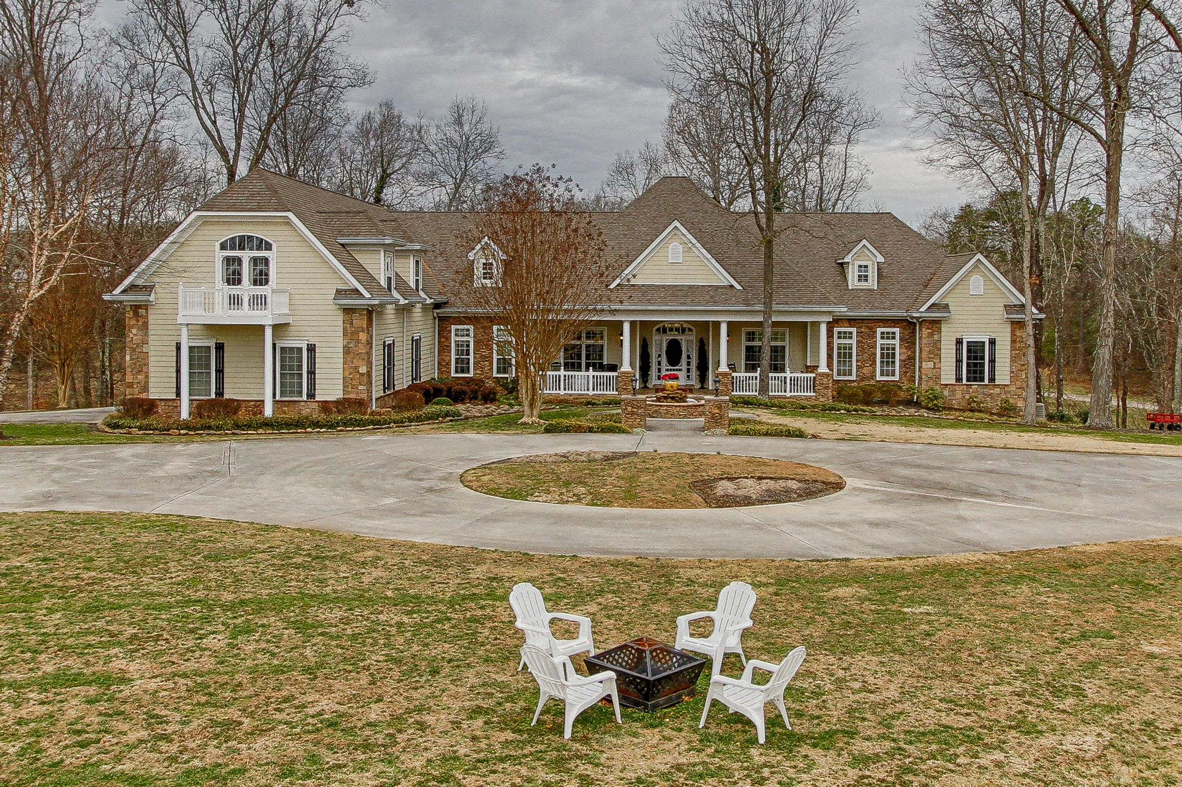 Fire Pit and Circular Driveway