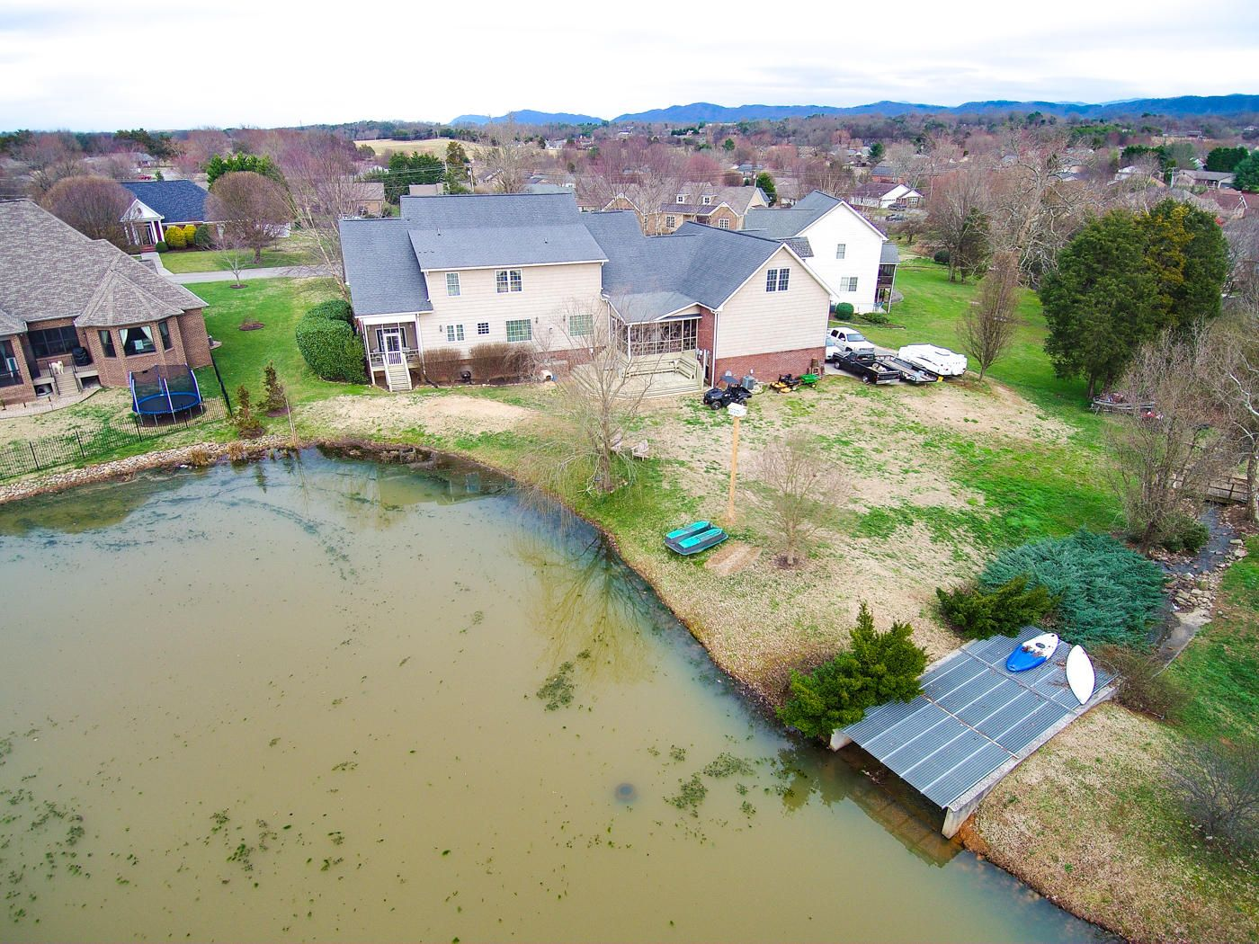 Aerial of Pond and Home