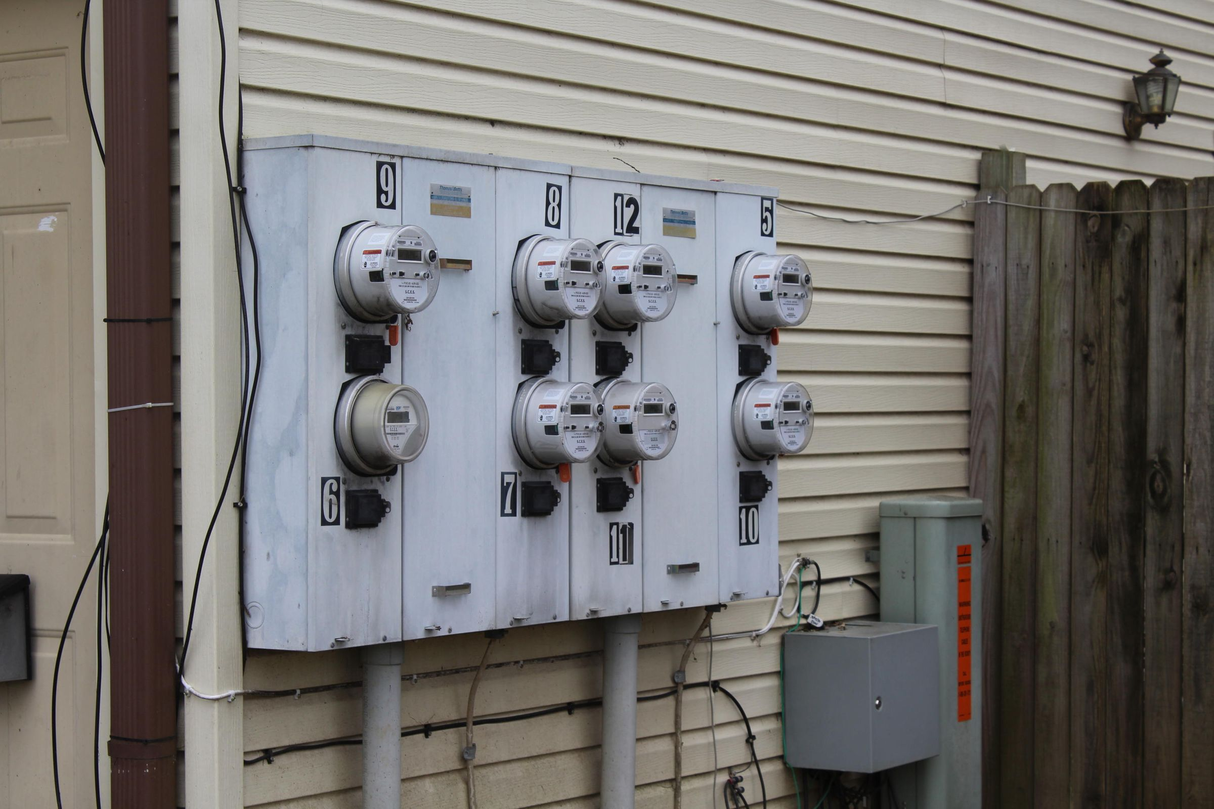 Electric panel on front building