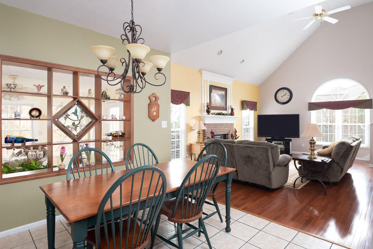 View into Family Room, vaulted ceilings