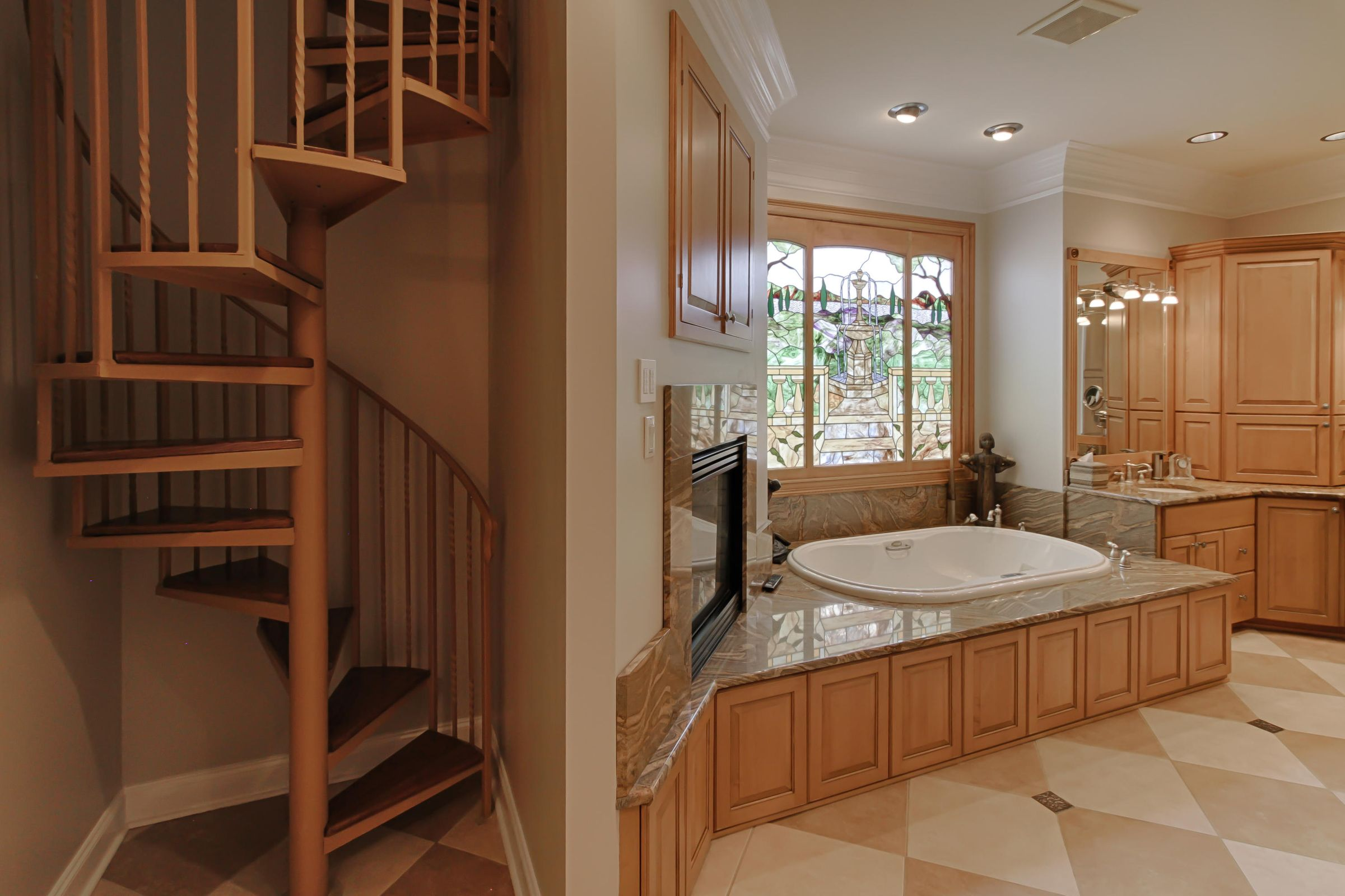 staircase in master bath to study