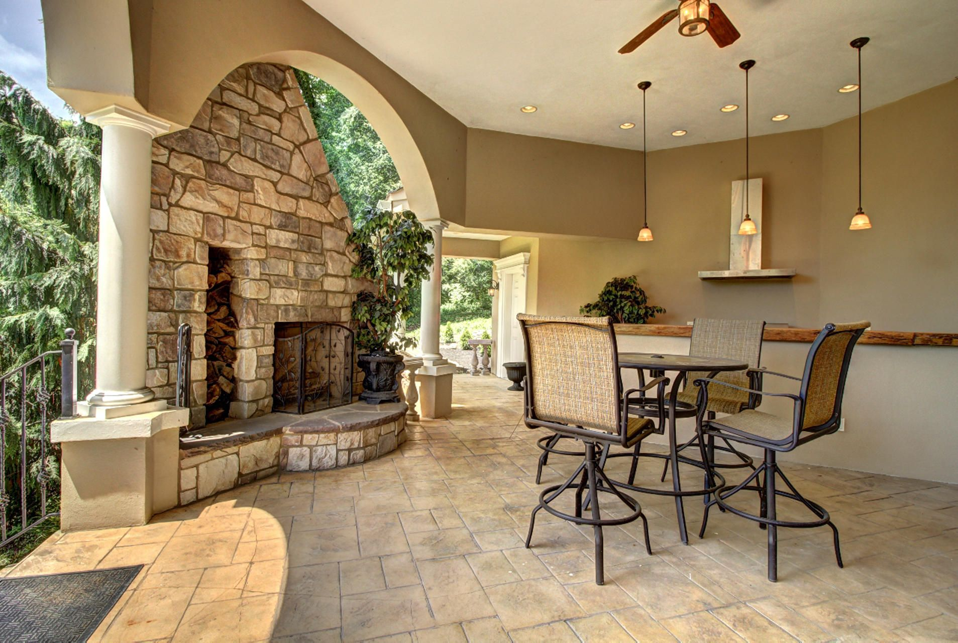 Outdoor Bar with Fireplace