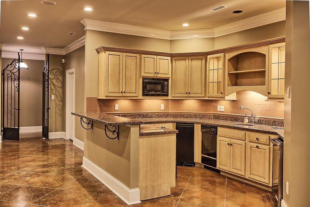 Basement kitchen, wine cellar & rec room