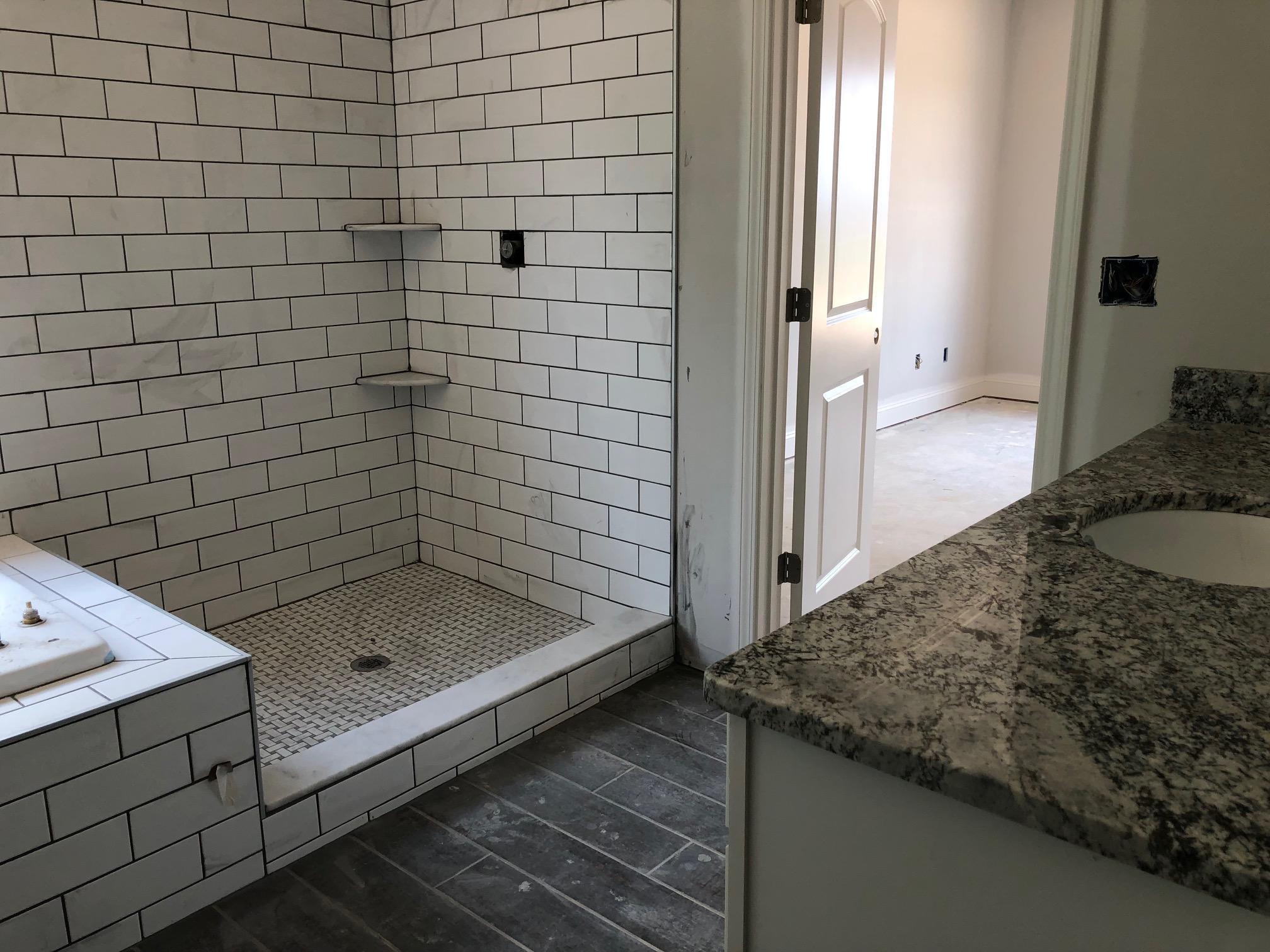 Separate tiled shower