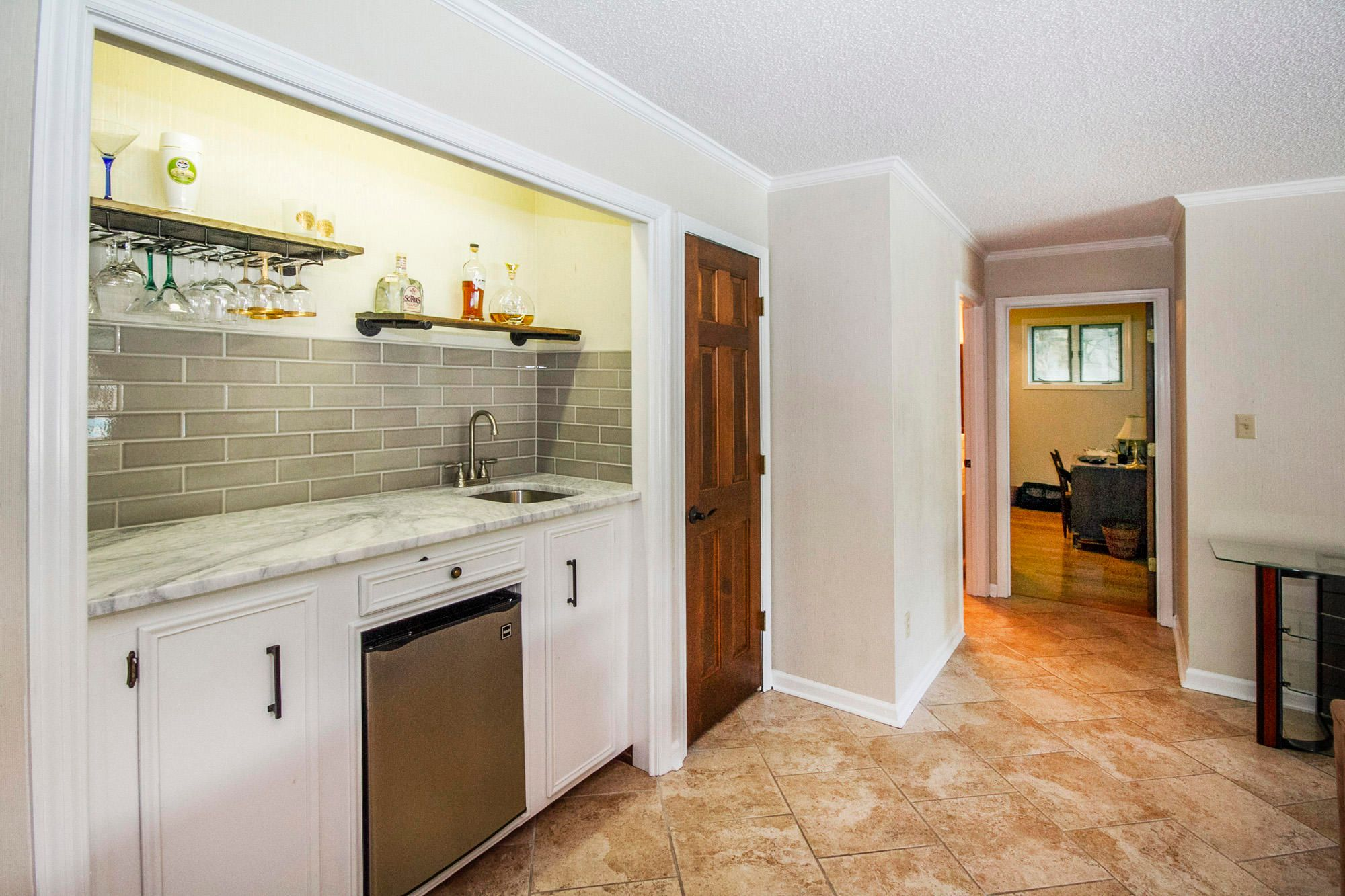 Small lower level wet bar