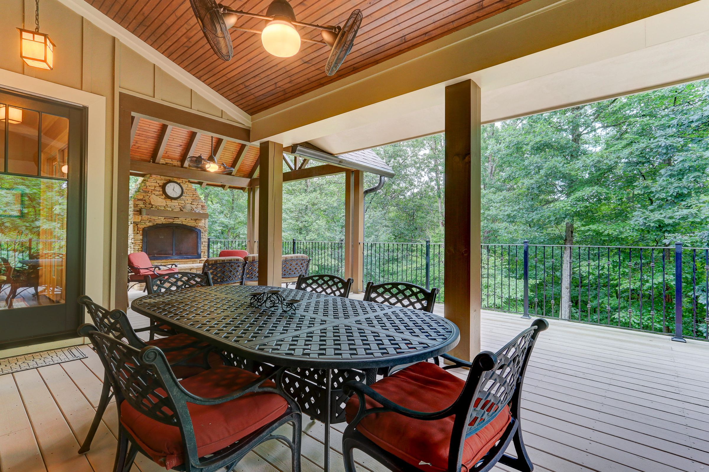 Covered Deck with Wood-burning Fireplace