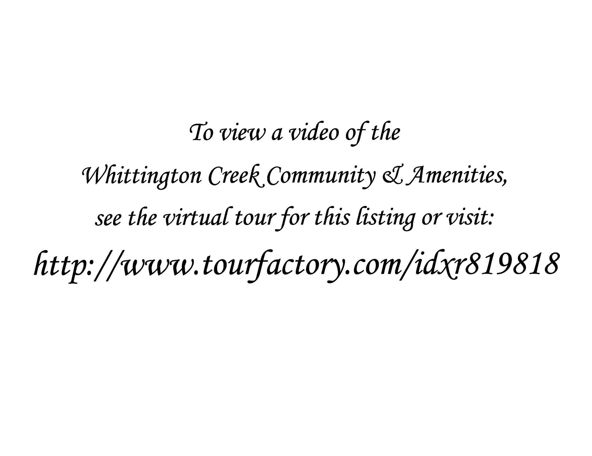 Whittington Creek Virtual Tour Link
