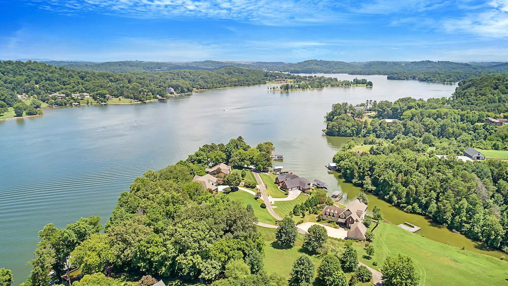 Aerial of the Property, Lake, & Cove