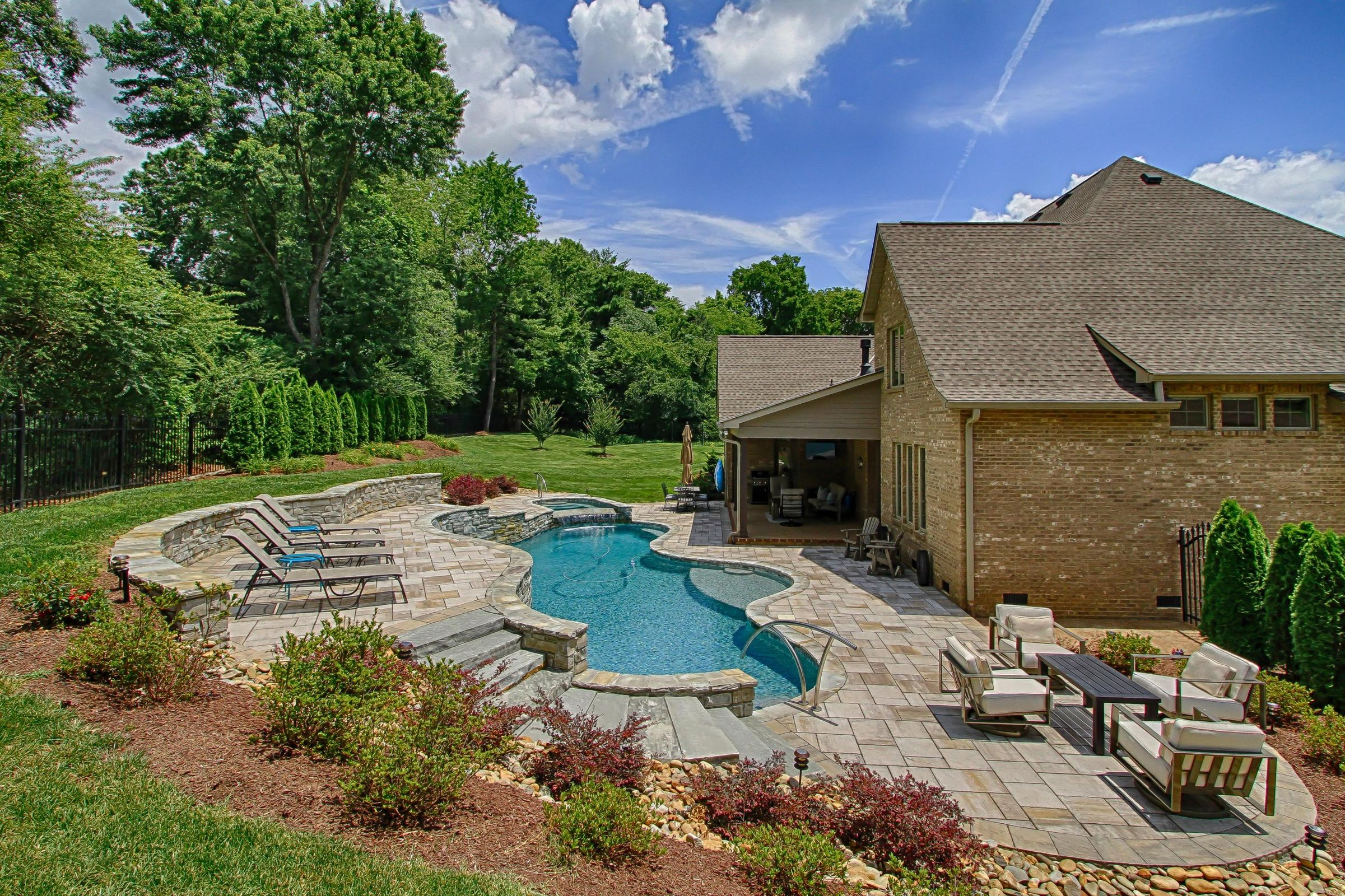 pool area and private yard