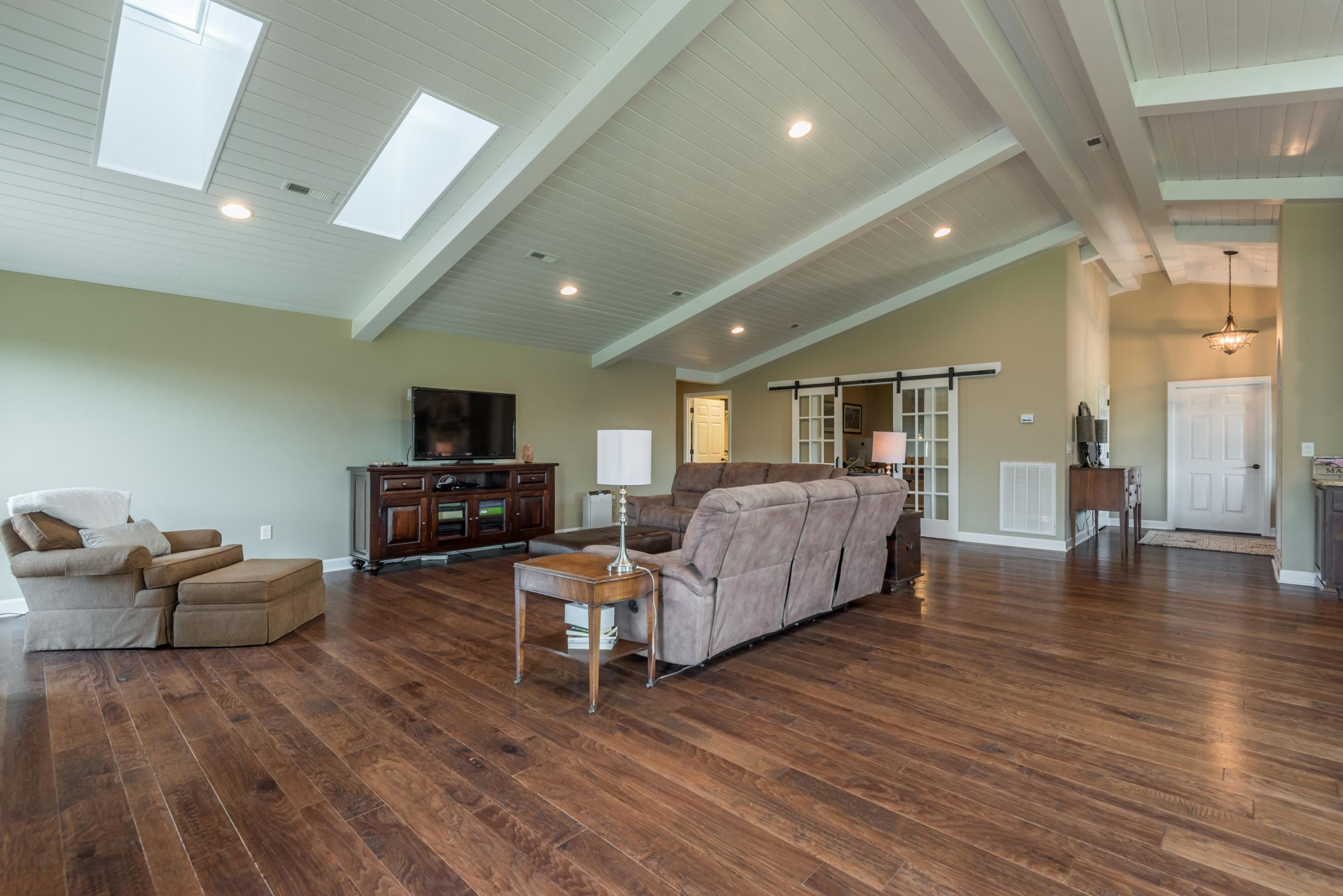 Great Room with Hardwood
