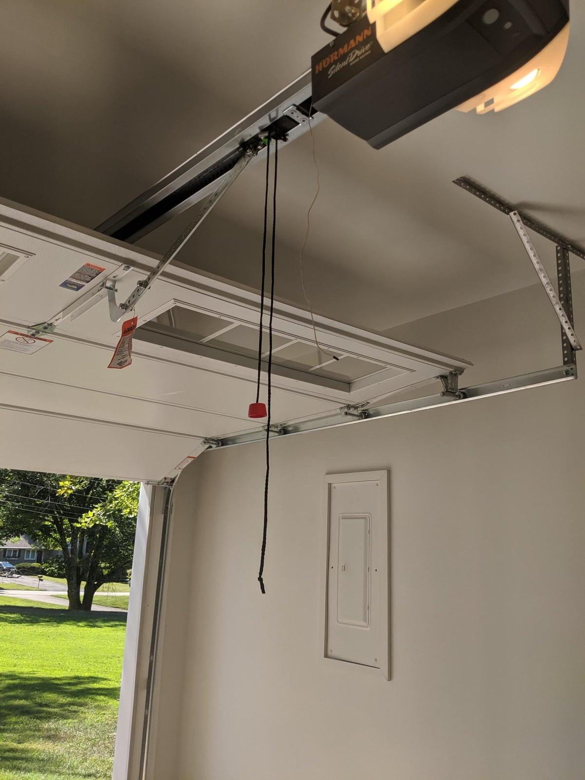 New garage door, opener, and mounting