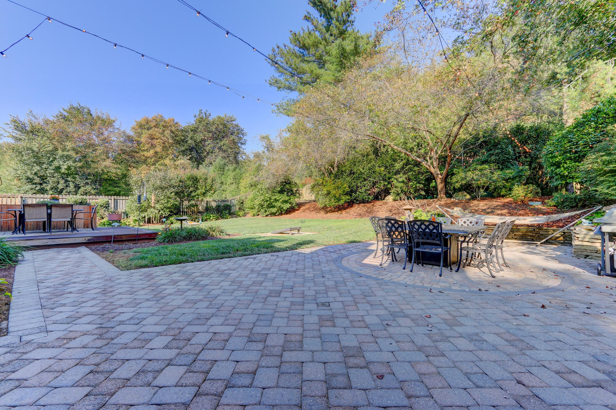 Paver Patio with Garden Lights