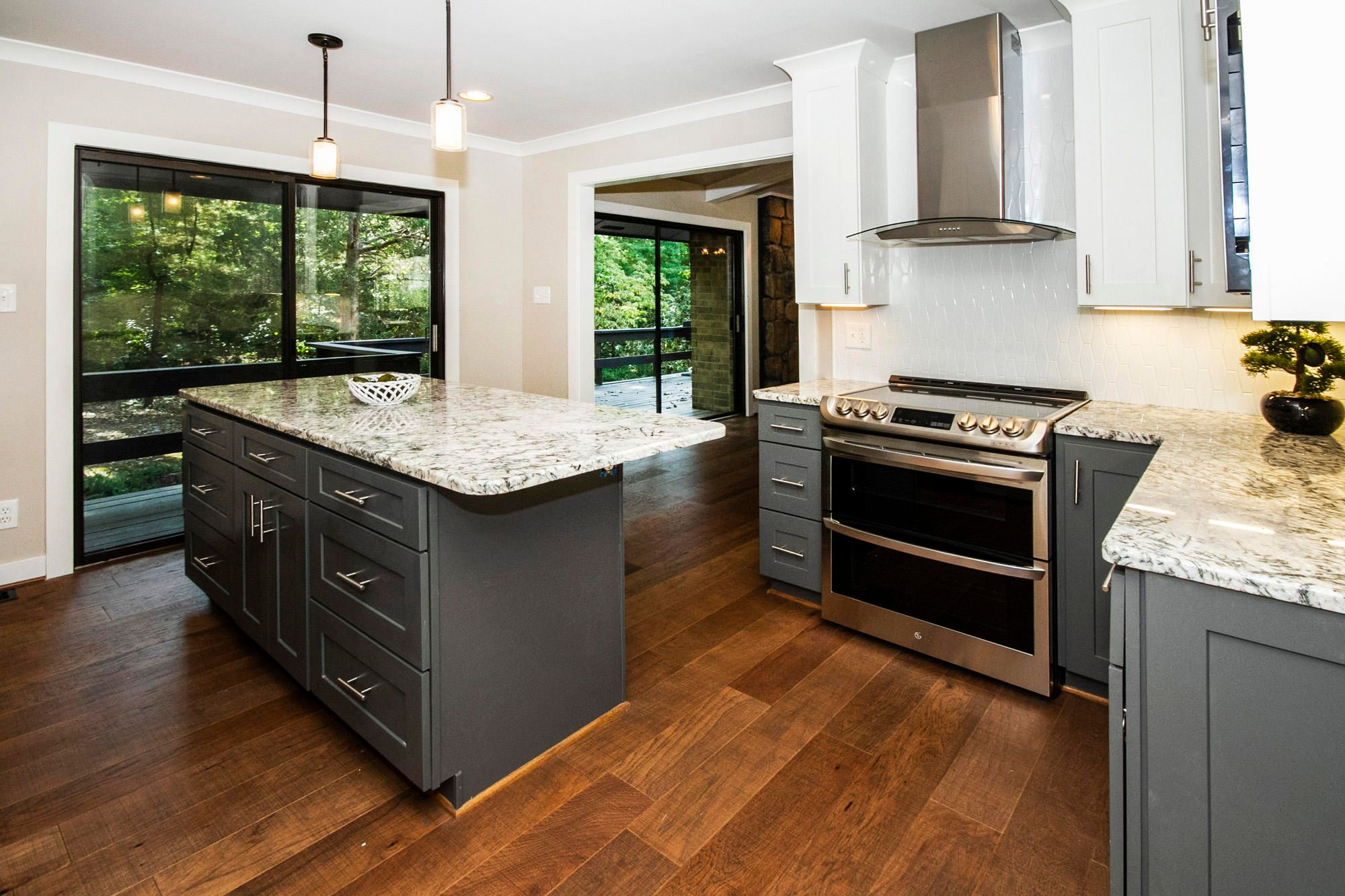 Kitchen showing double oven