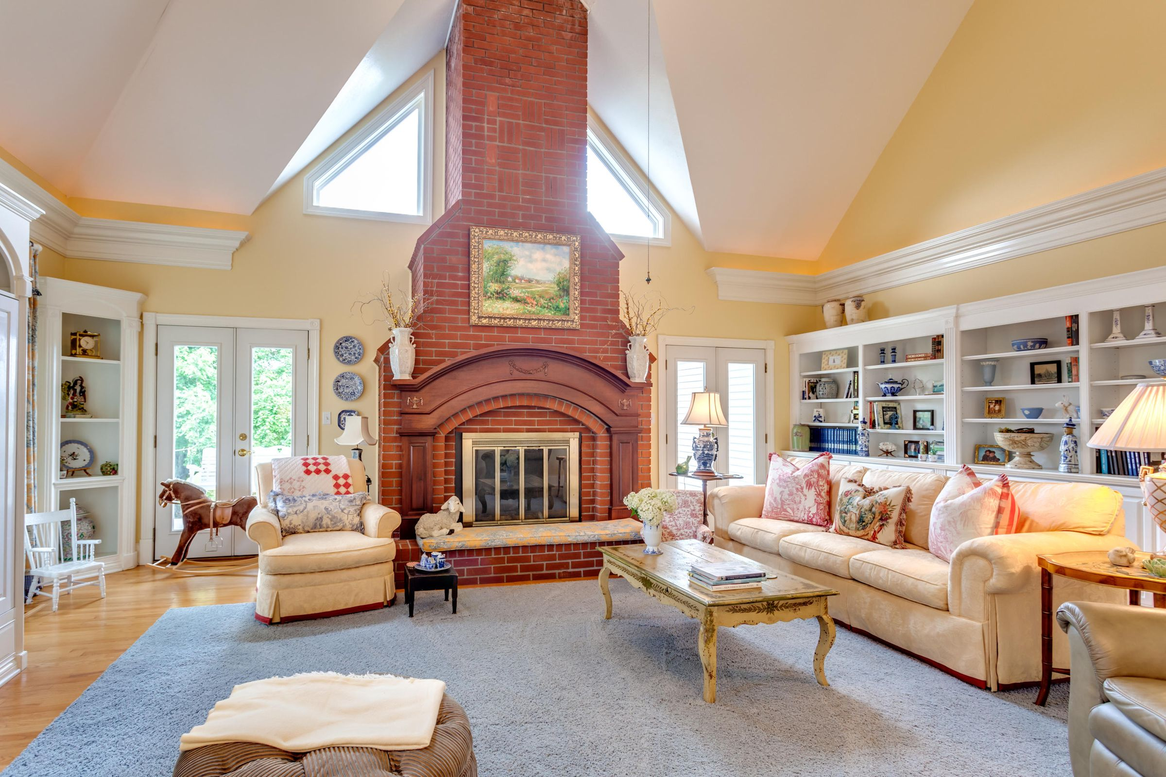 Soaring fireplace in the Great room