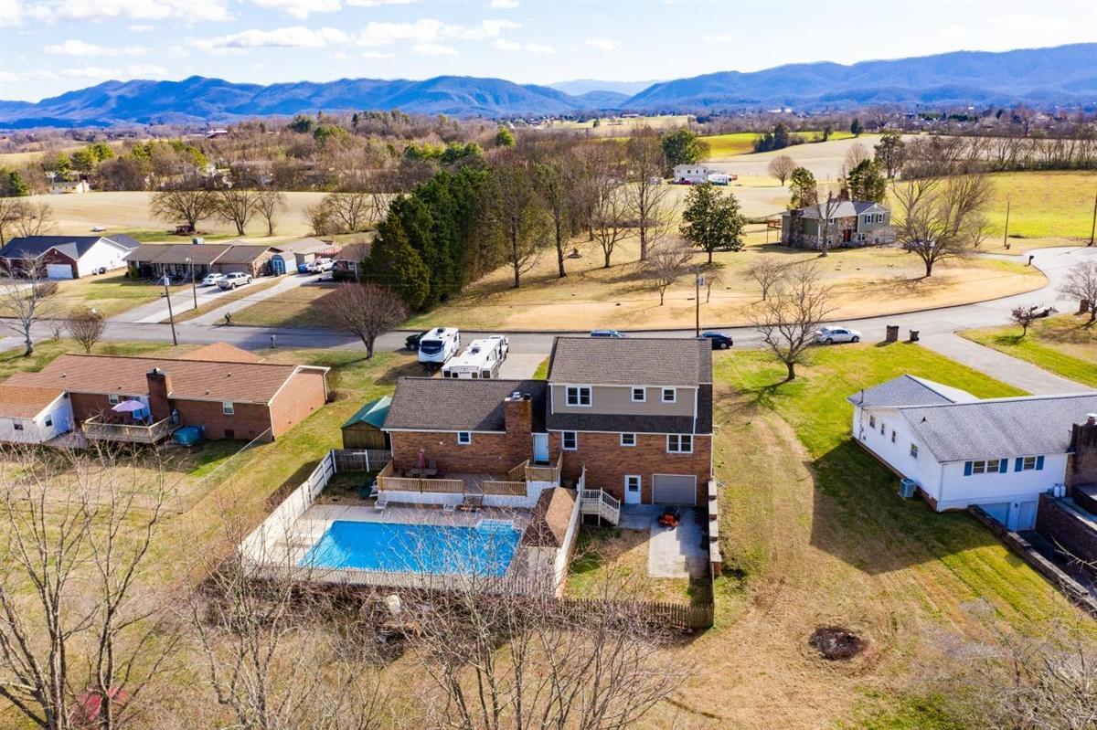 Aerial Views of back and Neighborhood