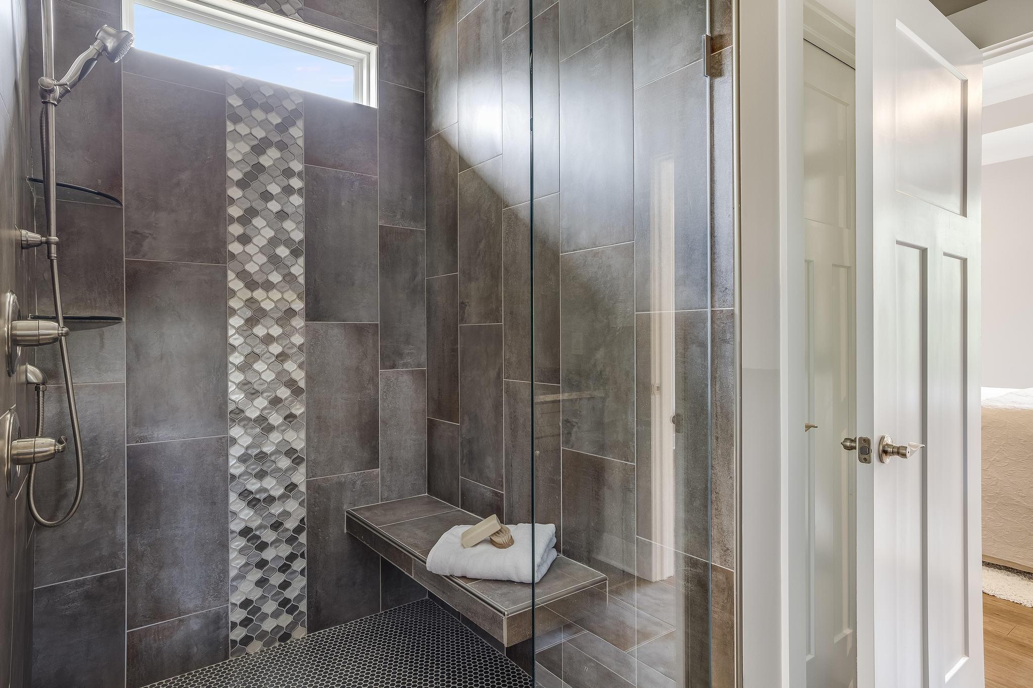Beautiful, spacious walk in shower